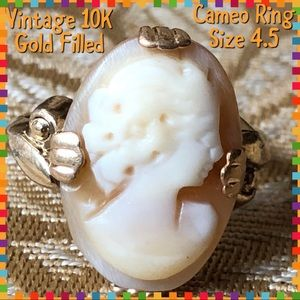 Vintage 10K GF Cameo Ladies Ring Size 4.5